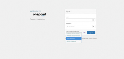 Onepoint Login Screen with Authentication Backend selector